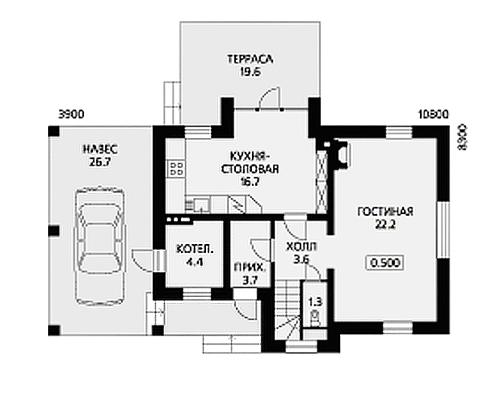 Общая площадь дома достигает